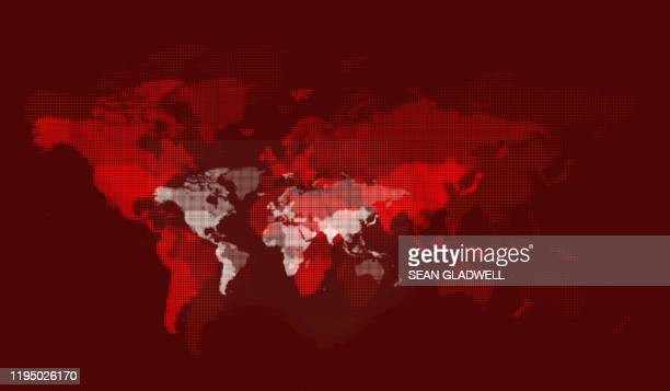 red digital world map - red stock pictures, royalty-free photos & images