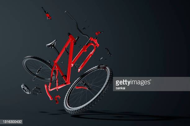 red disassembled mountain bike hovering in the air - dismantling stock pictures, royalty-free photos & images
