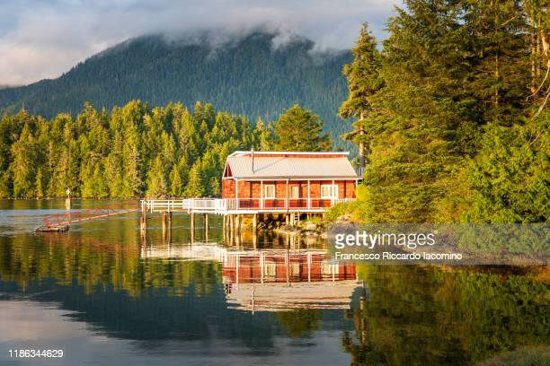 red dock house with pier over the harbour water in tofino, vancouver island, canada - canada stock pictures, royalty-free photos & images