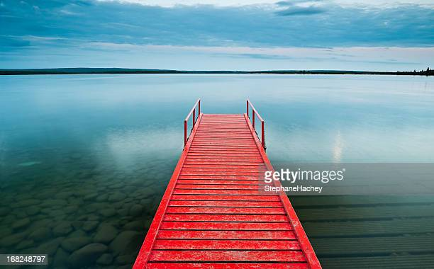 Red Dock with moody sky