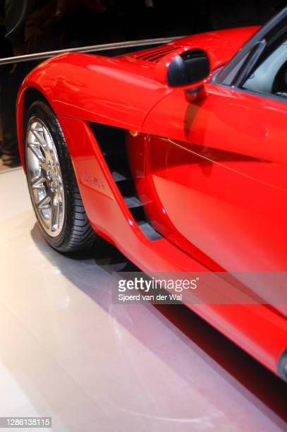 Red Dodge Viper sports car detail on display at Amsterdam motor show AutoRAI on February 91, 2005 in Amsterdam, The Netherlands.