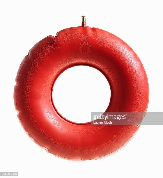 Red Donut Pillow on White Background