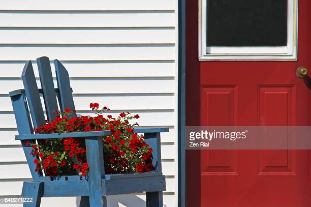 Red door and a blue broken wooden chair with a pot of blooming red petunias