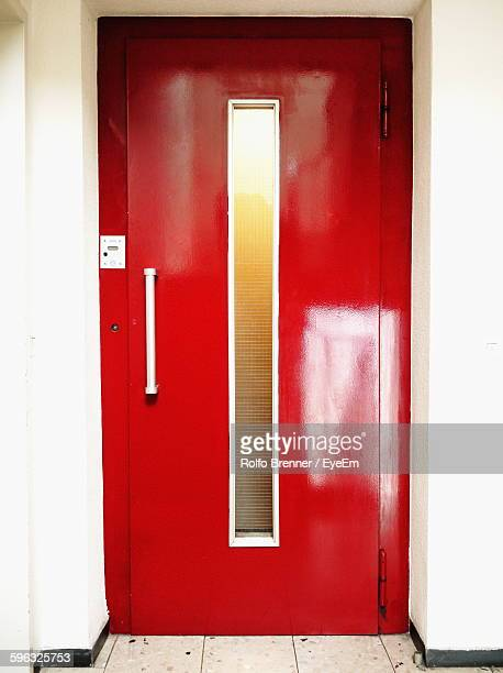 Red Door At Entrance Of Elevator