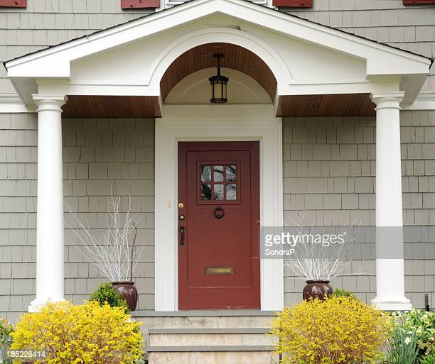 red door - colonial style stock pictures, royalty-free photos & images
