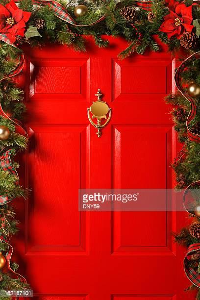 Red Door With Garland