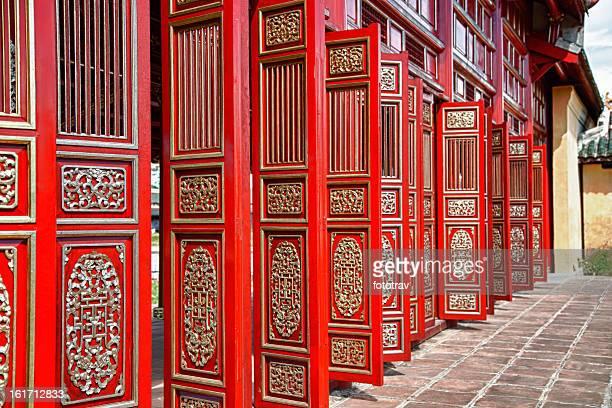 Red doors in Hue's Imperial City (Citadel), Vietnam