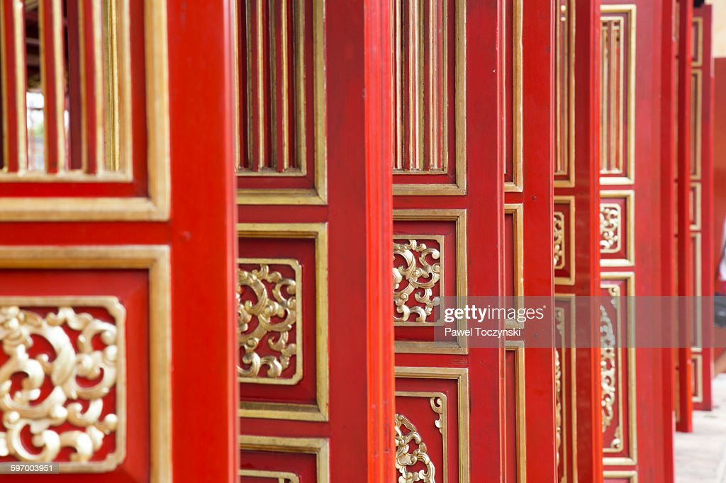 Red doors of Hue Imperial Palace  Stock Photo & Red Doors Of Hue Imperial Palace Stock Photo | Getty Images