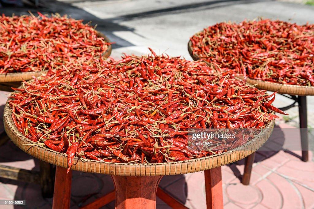 red dried chilli pepper : Foto de stock