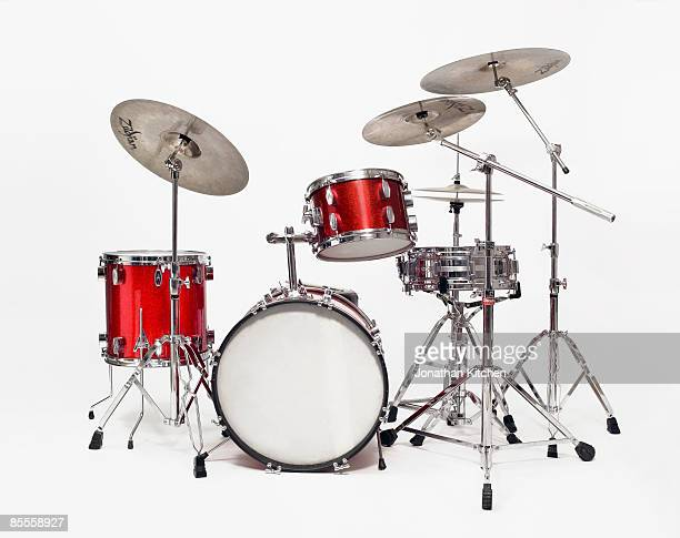 A Red Drum Kit on a plain white background