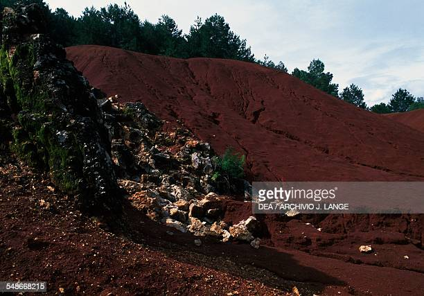 Red dunes around the opal mines near Queretaro Mexico