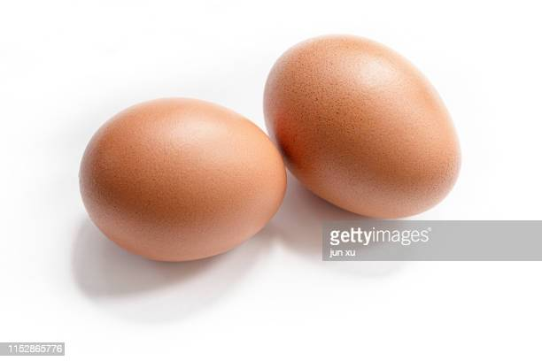 red eggs on a white background - ei stock-fotos und bilder