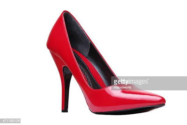 vermelho elegante isolada no branco - sapato salto alto com plataforma - fotografias e filmes do acervo