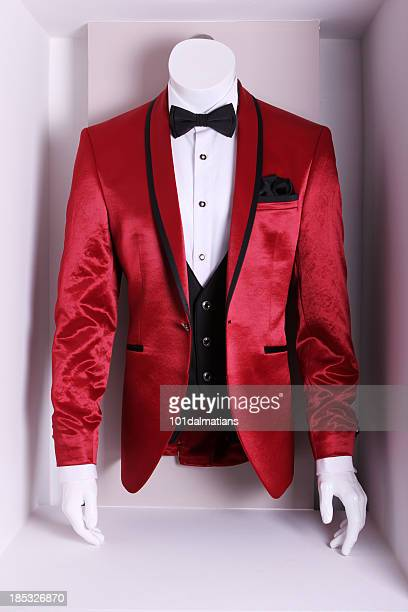 red elegant suit - waistcoat stock photos and pictures