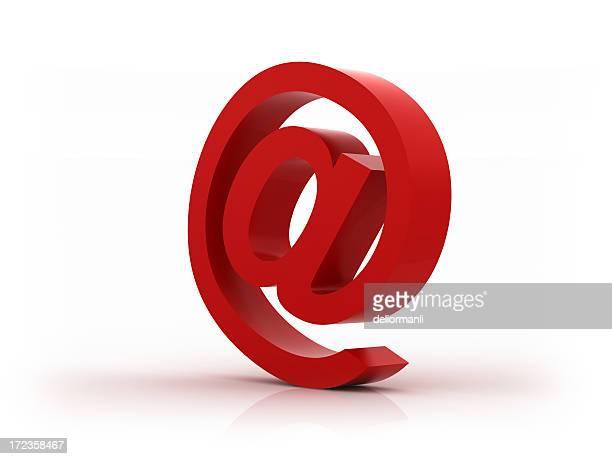 e メールの記号(xxl)レッド - 'at' symbol ストックフォトと画像