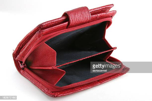 red empty purse - red purse stock pictures, royalty-free photos & images