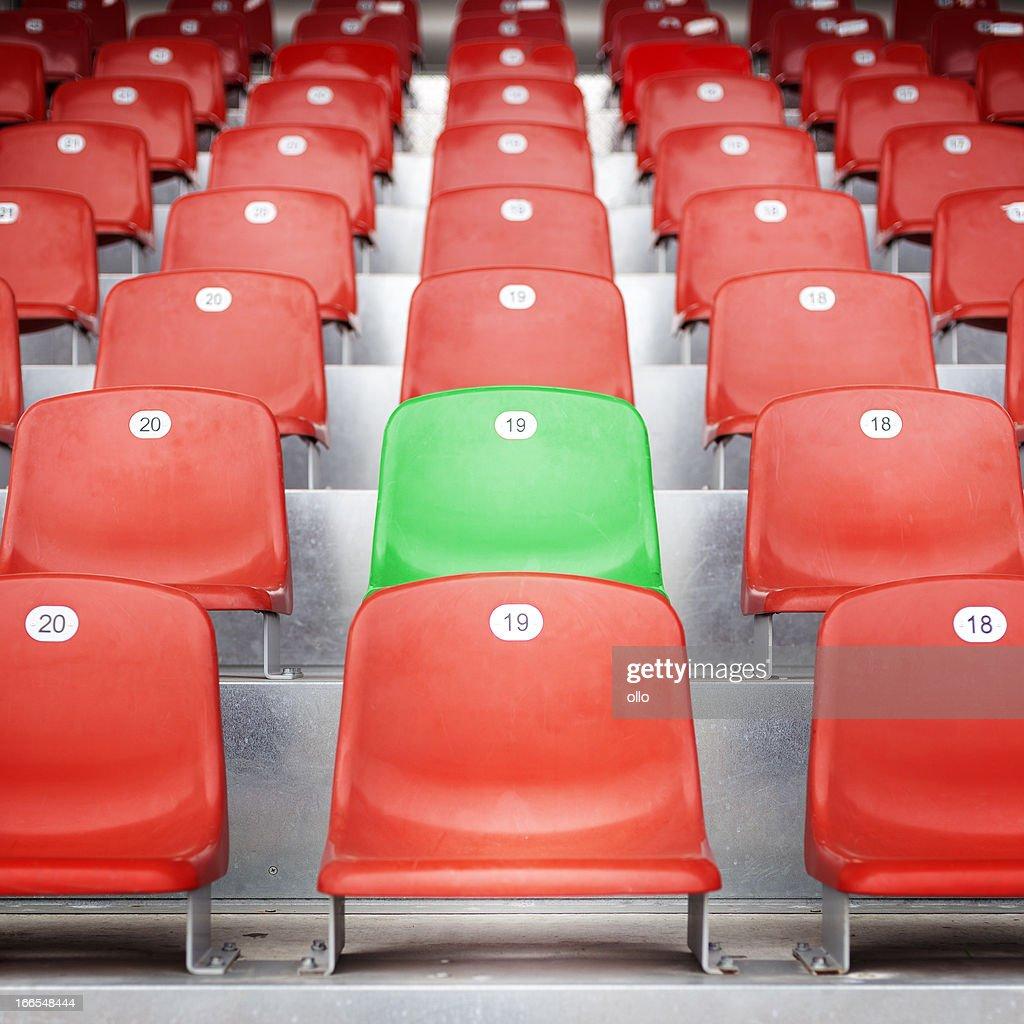 Red empty stadium seats : Stock Photo