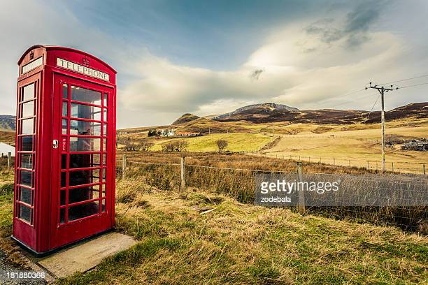 Red English Telephone Booth in the Nowhere, Scotland