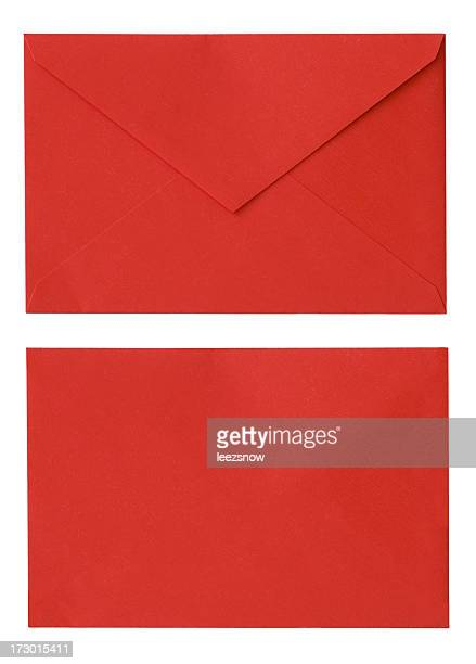 red envelope isolated on white - envelope stock pictures, royalty-free photos & images