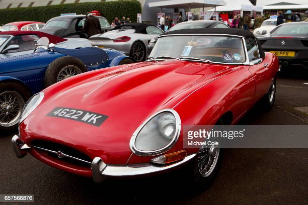 Red Etype Jaguar OTS on display at the 75th Member's Meeting at Goodwood on March 18 2017 in Chichester England