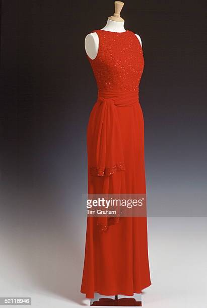 Red Evening Dress Designed By Fashion Designer Jacques Azagury For Princess Diana On A Mannequin Dress Stand At Kensington Palace