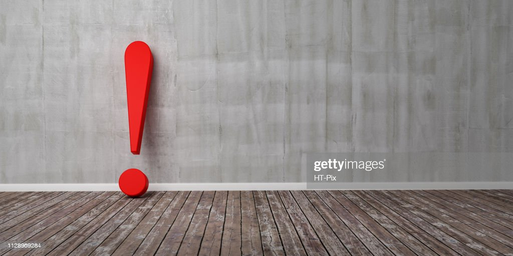 Red exclamation mark on wooden floor and concrete wall 3D Illustration Warning Concept : Stock Photo