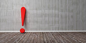 Red exclamation mark on wooden floor and concrete wall 3D Illustration Warning Concept