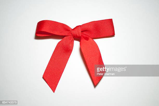Red fabric bow.