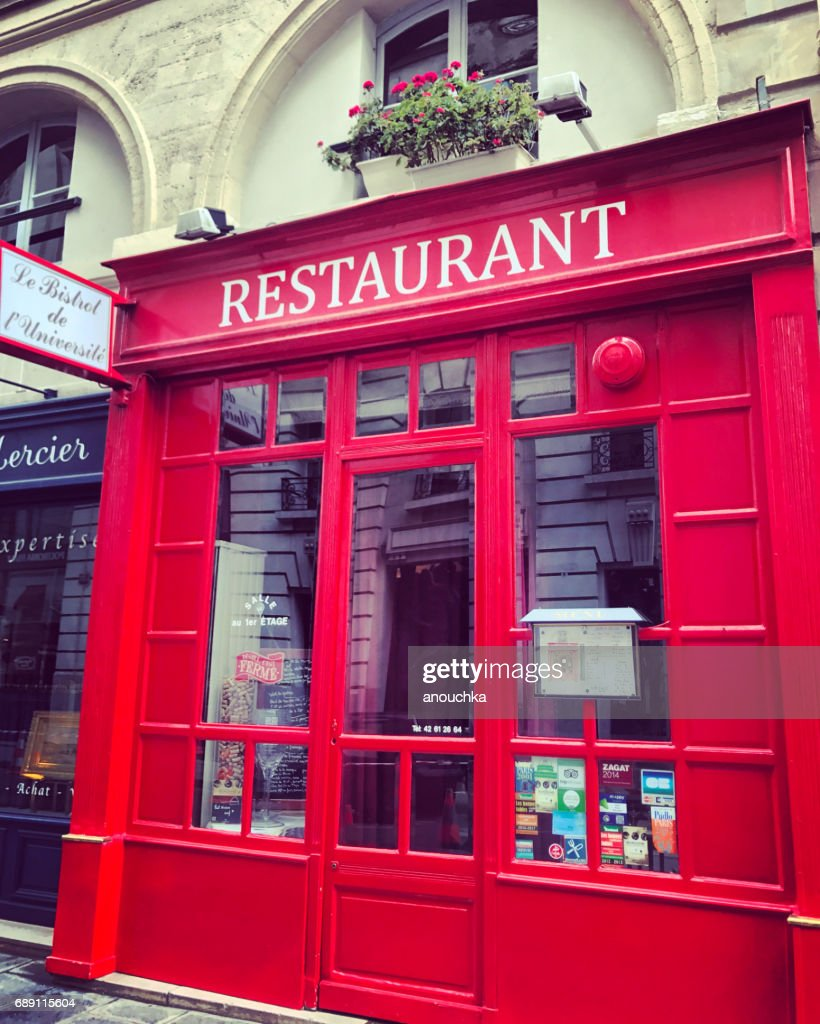 Red Facade of Paris restaurant, France : Stock Photo