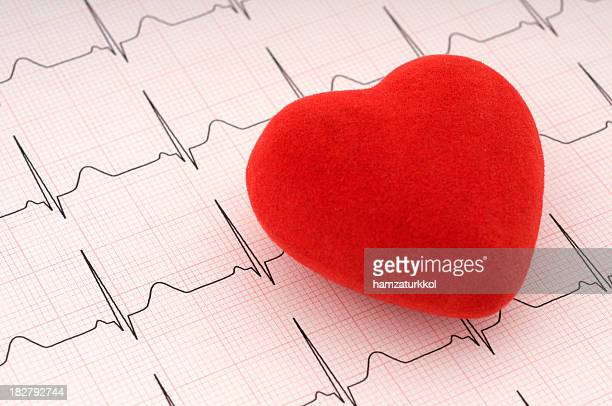 Red felt heart on ECG printout