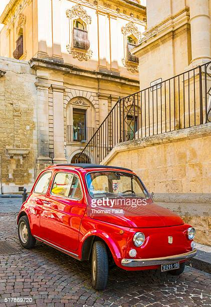 red fiat in italy - fiat stock photos and pictures
