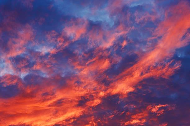 Red fiery evening sky