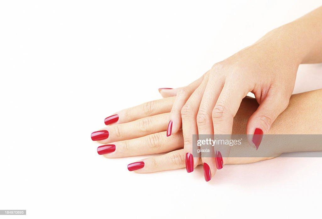 Red fingernails,closeup. : Stock Photo