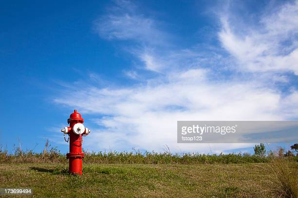 Red fire hydrant on a hillside with copy space