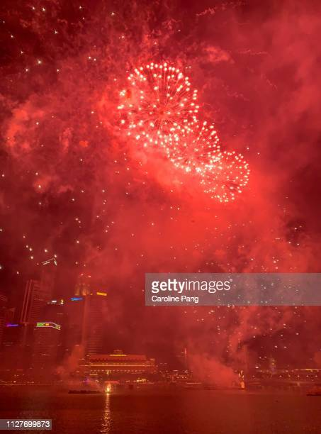 Red fireworks to welcome Chinese New Year