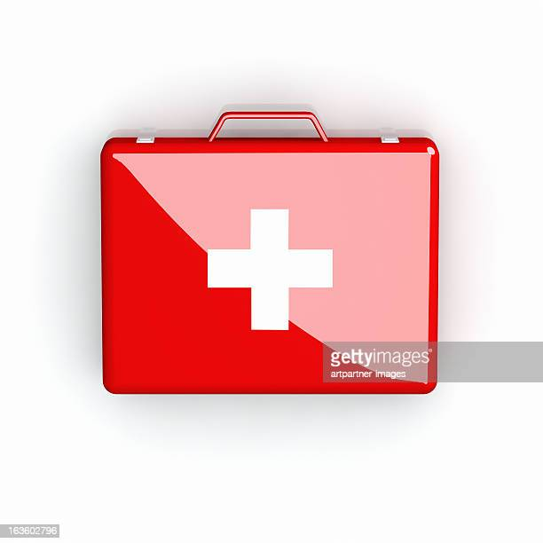 Red First Aid case with white cross on white