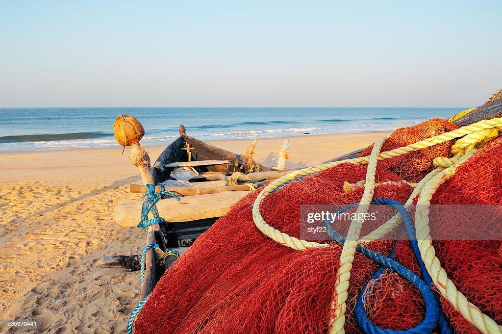 Red fishing nets : Stock Photo