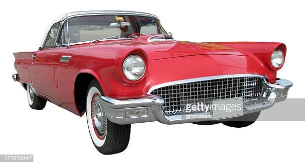 red ford tbird in white background - hot rod car stock photos and pictures