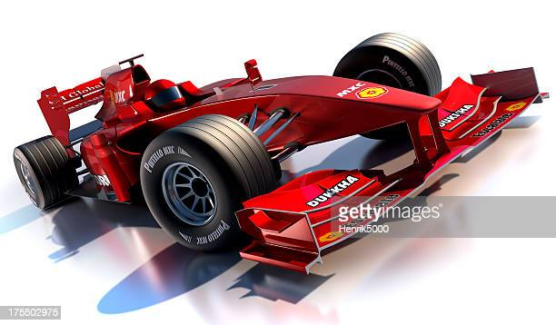 Red formula 1 racing car against white background
