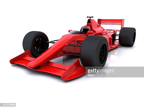 Red formula one race car on white background