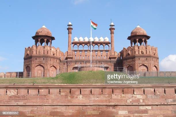 red fort facade, delhi, india - argenberg - fotografias e filmes do acervo