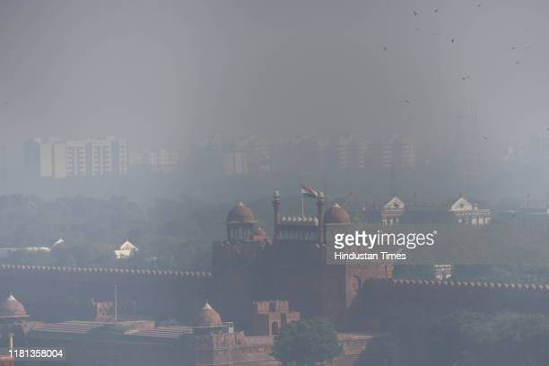 Red Fort is seen shrouded in smog on November 9 2019 in New Delhi India