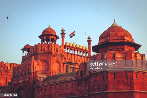 red fort, new delhi, india - tricolor flag - delhi stock pictures, royalty-free photos & images
