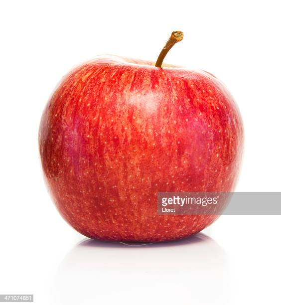 red fresh apple isolated on white background - gala stock pictures, royalty-free photos & images