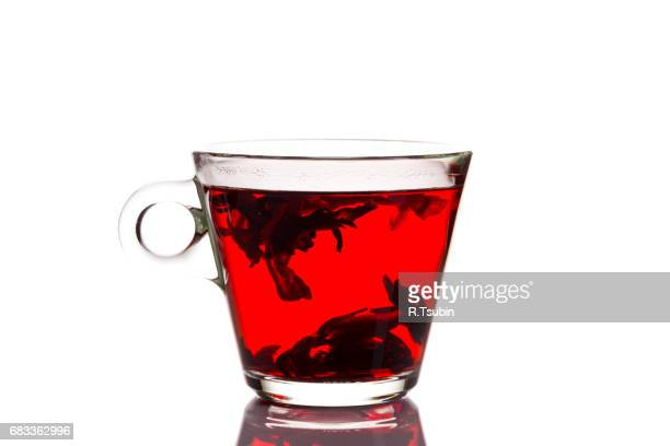 Red fruit tea in glass cup