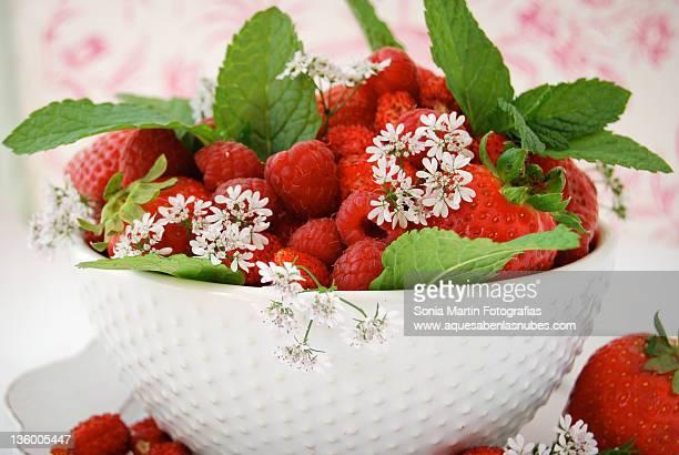 Red fruits and mint
