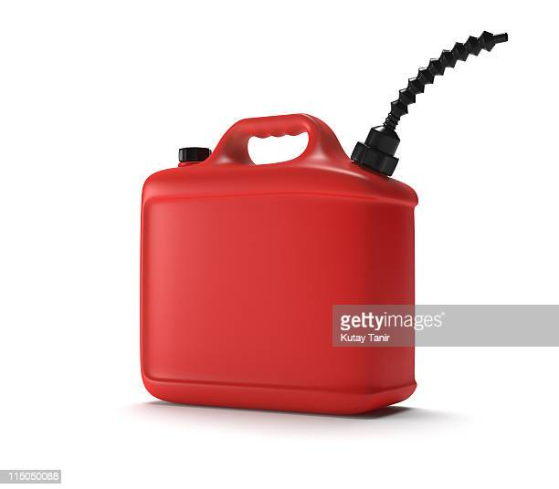 Red fuel can on white background.