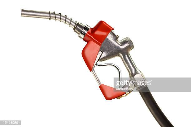 Red Gasoline Pump Nozzle on Pure White Background
