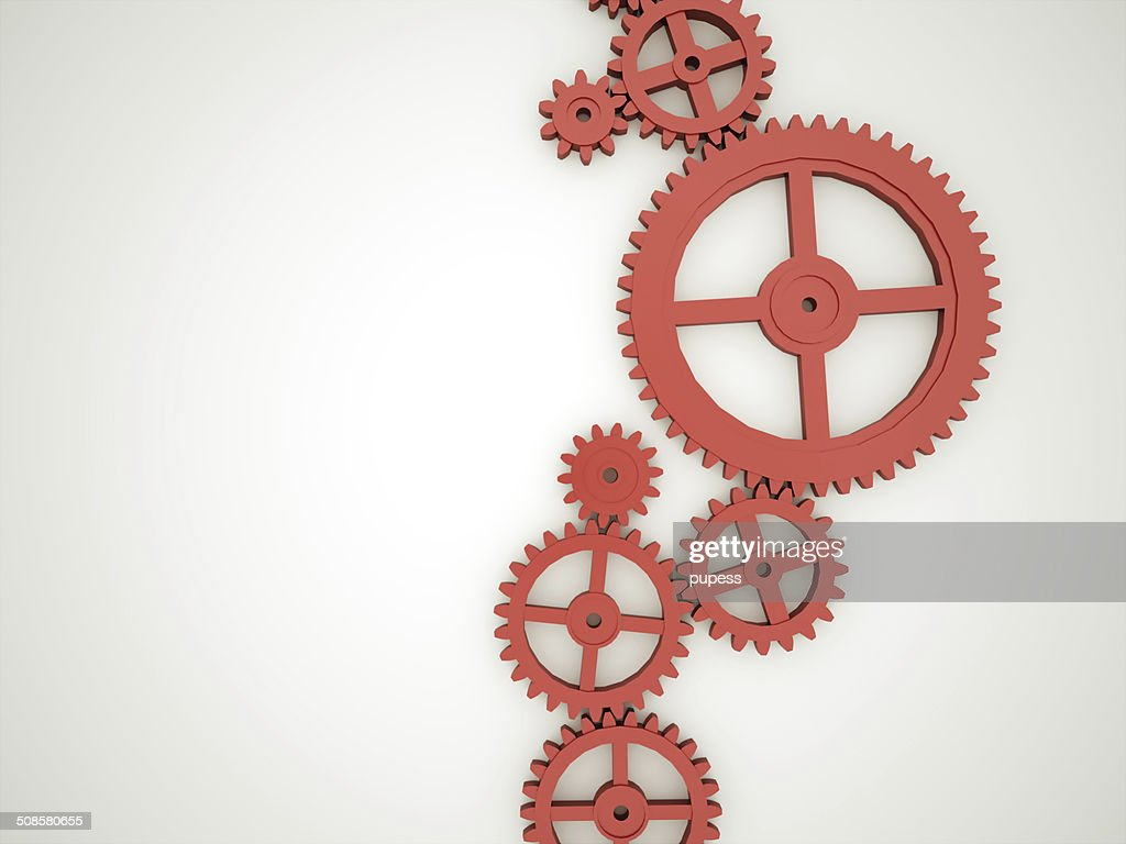 Red gears concept : Stock Photo