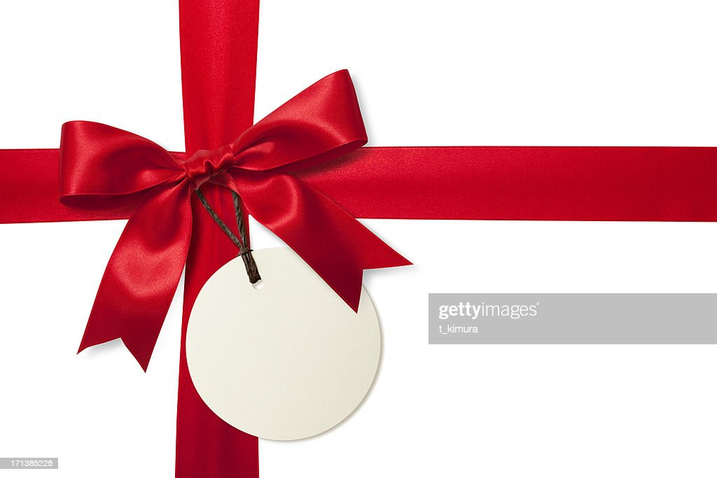 Red gift bow with tag stock photo getty images red gift bow with tag stock photo negle Image collections